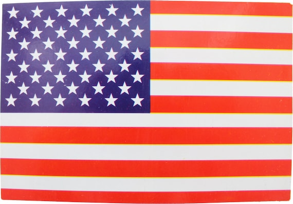 Red White   Blue American Flag Sticker 5 x 3.5  d76f4d25442