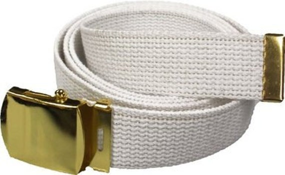 White Belt   Gold Buckle 100% Cotton Military 54