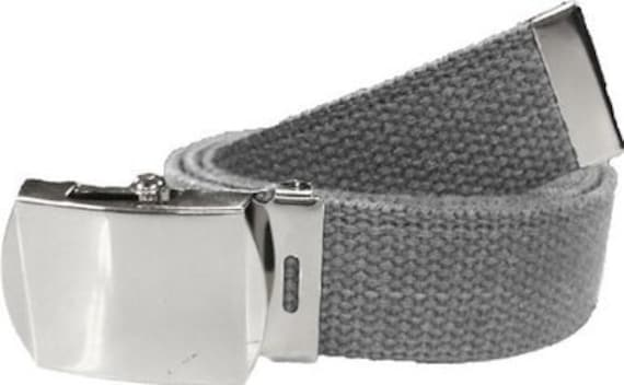 Grey Belt   Chrome Buckle 100% Cotton Military 54 Long  fb582b1d2ee