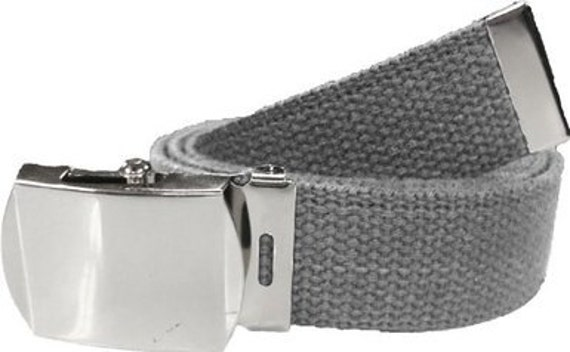 Grey Belt   Chrome Buckle 100% Cotton Military 54