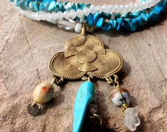 African Bohemian Necklace Beaded In Blue Turquoise White With Brass Pendant Bohemian Jewelry African Jewelry