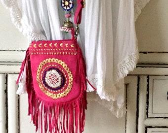 Boho Pink Banjara Bag  Handmade Crossbody Bag Pink Suede fringe bag Gift For Her