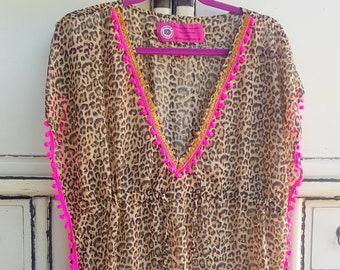 Boho Beach Dress Leopard neon Pink PomPoms Bohemian Artistic Traditional Handmade Tribal Anniversary Birthday Gift for Her