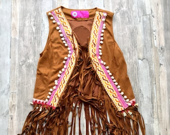 Boho Gilet of Faux Suede with Fringe and Colorful Applications Bohemian Artistic Traditional Handmade Anniversary Birthday Gift for Her