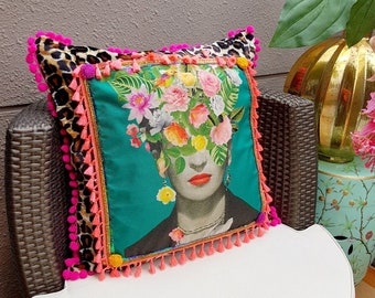 Beautiful Large Frida Kahlo Leopard Decorative Pillow cover - Colorful Fringe Pompoms pillow - Bohemian Handmade cuchion -  Birthday Gift