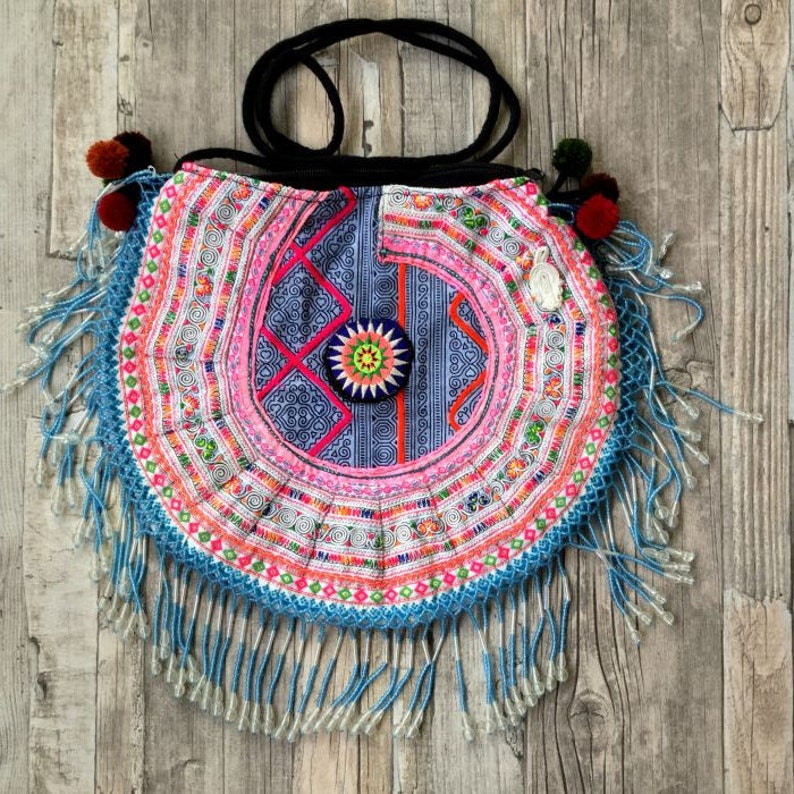Hmong Tribal bag with beaded fringe Gypsy Boho Ibiza bag image 0