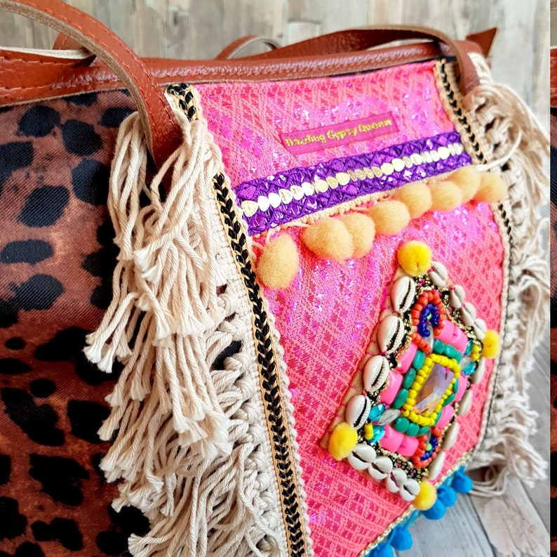 Colorful shopper bag with Pather print in Ibiza Style image 0