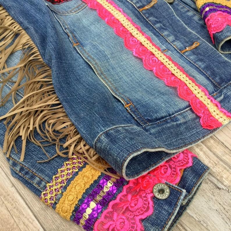 Boho Denim Jacket embellished with colorful trimmings beads image 0