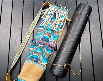 Boho Yoga Mat Bag - Yoga Mat Carrier in Turquoise with Fringe