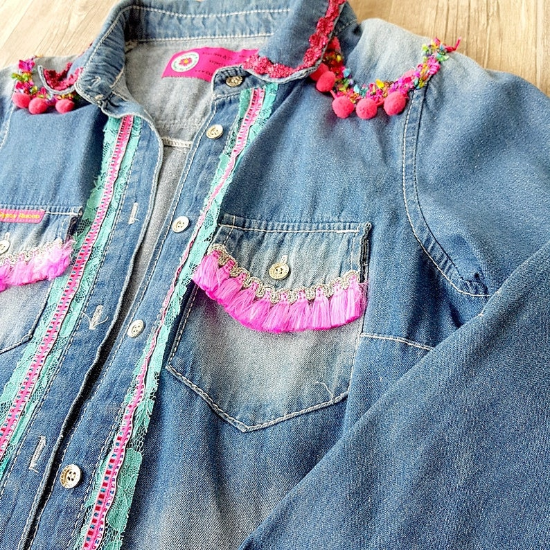 Statement jeans shirt  embellished jeans blouse  colorful image 0