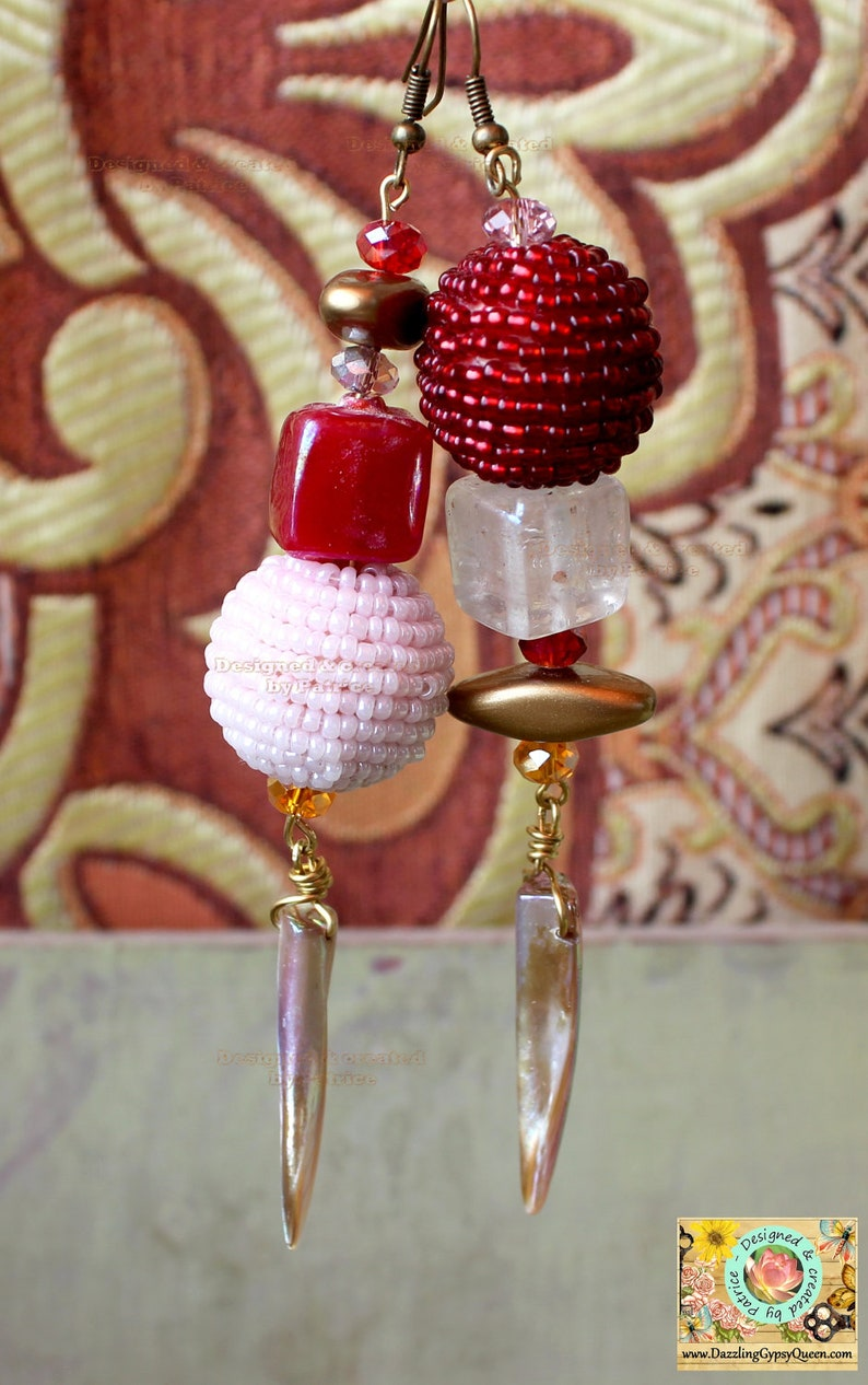 Bohemian Gypsy A-symmetric Chandelier earrings in red and Pink image 0