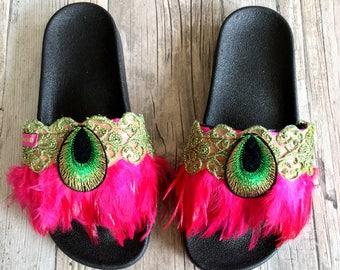 Boho Summer Slipper Slides Size 40 with beads - Boho summer sandals with feathers - Boho Beach slides - Ibiza Style summer Sandals handmade