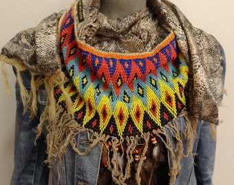 Native Vintage Beaded Boho Shawl Wrap - by Dazzling Gypsy Queen