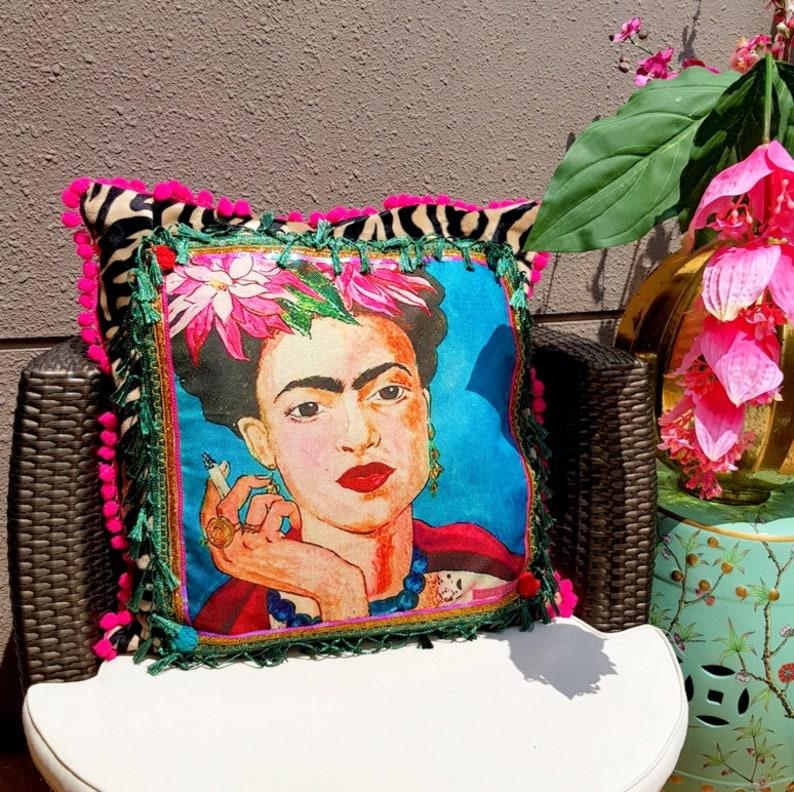 Beautiful large Frida Kahlo decorative pillow with zebra image 0