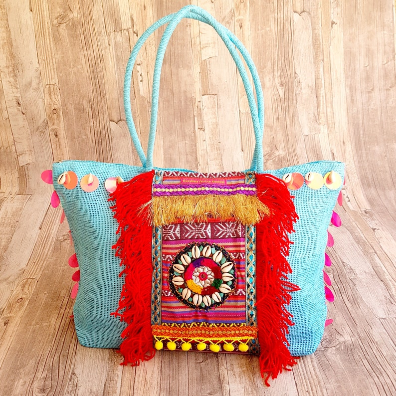 Boho Bag Turquoise African Style Pink Colorful Bohemian Beach image 0