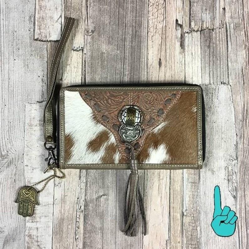 Leather wallet with Goatskin Boho leather wallet with fringe image 0