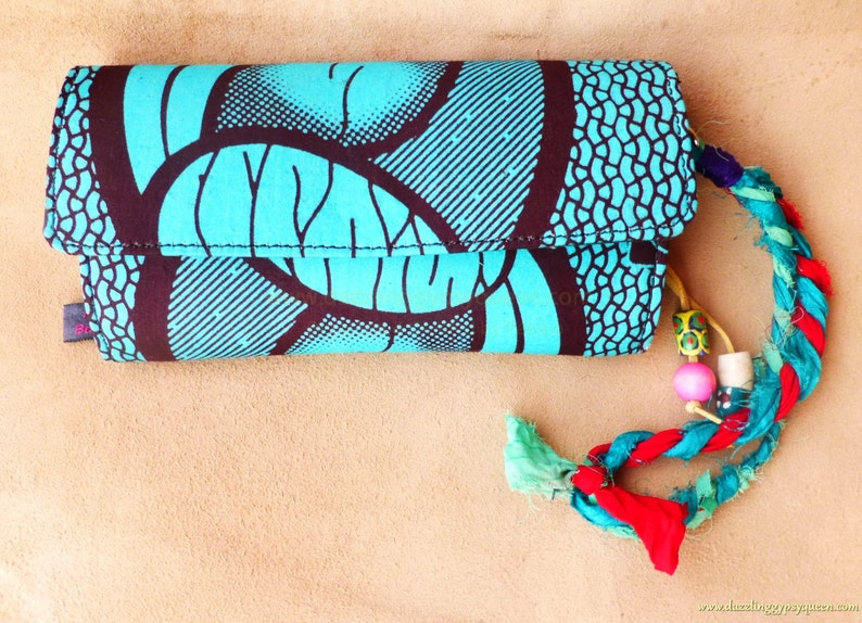 African Wax fabric Clutch Wallet by Hot Bags  Turquoise print image 0