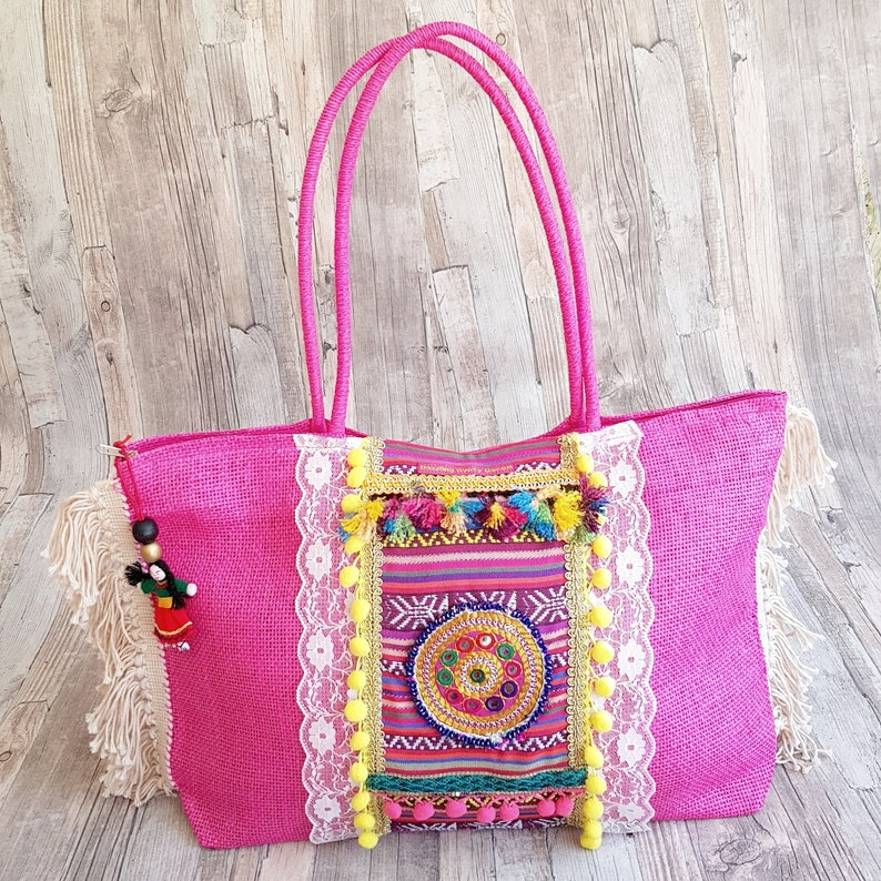 Colorful beach bag in Ibiza Style in Pink and Lace image 0