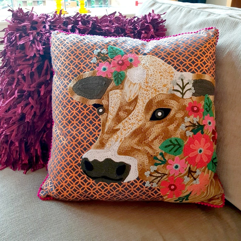 Decorative cushion embroidered Cow pillow Bronze print image 0