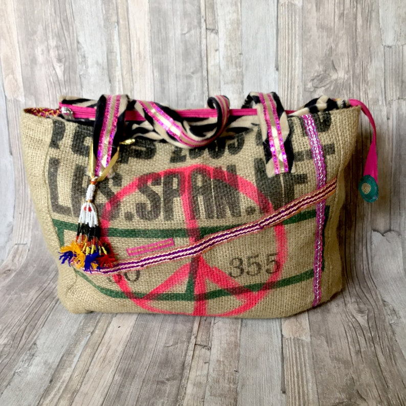 Boho Style bag with Peace Sign and Zebra Print Colorful image 0