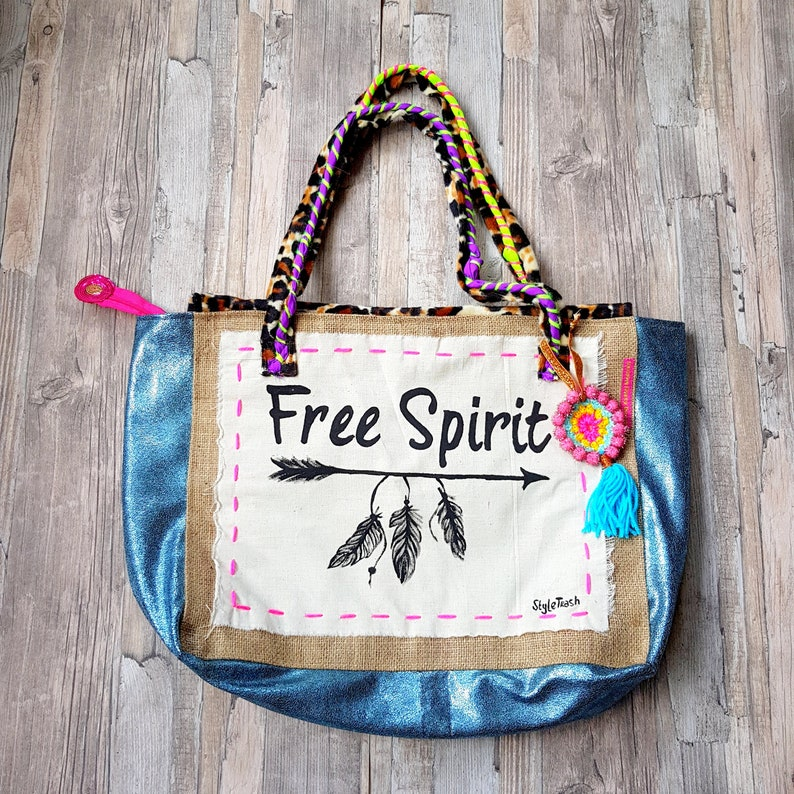 Boho Bag Colorful Bohemian Beach Bag With Funny Quote Free image 0