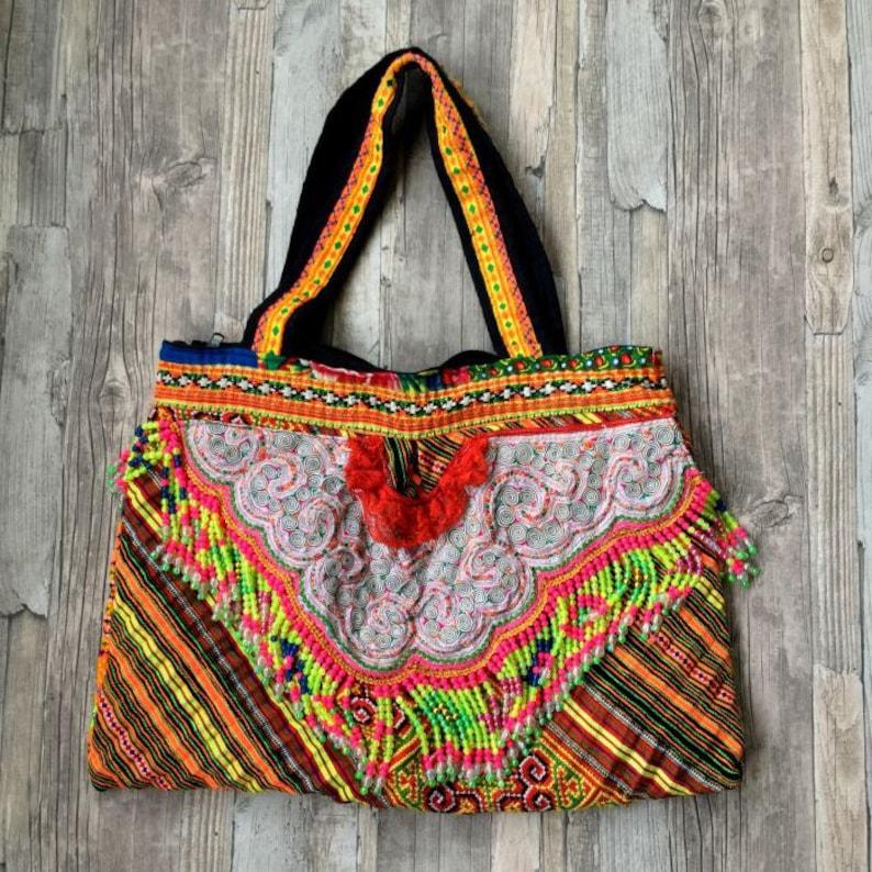 Hmong Tribal bag with beaded fringe  Gypsy Boho Ibiza bag image 0