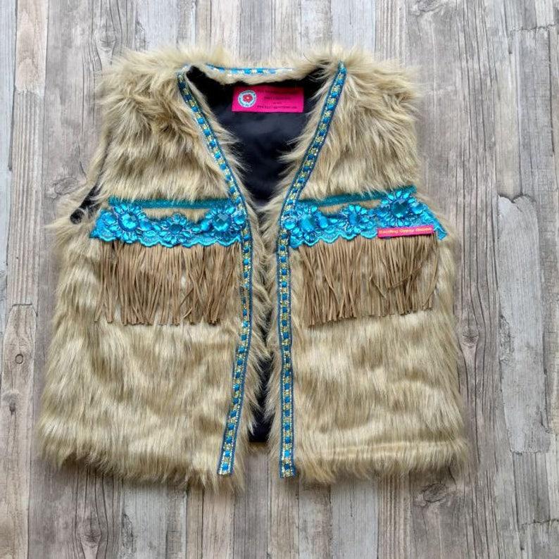 Festival faux fur vest Boho faux fur vest Ibiza style faux image 0