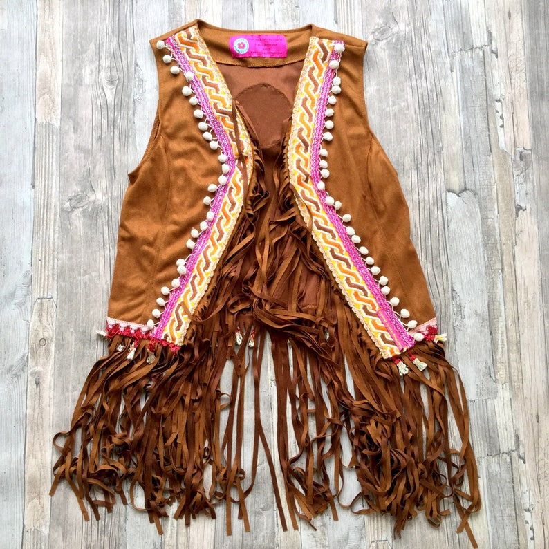Boho Gilet of Faux Suede with Fringe and Colorful Applications image 0