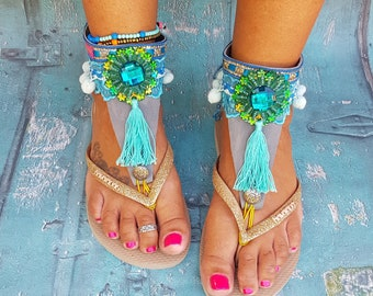 Boho Leather Anklebelts, Gypsy Ankle Wraps, Tribal Ankle Cuffs For Your Flip Flops, Handmade Gift For Her