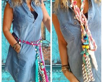 Wrap Belt Fabric Belt Tassel Belt Boho Belt Bohemian Artistic Traditional Handmade Tribal Anniversary Birthday Gift for Her