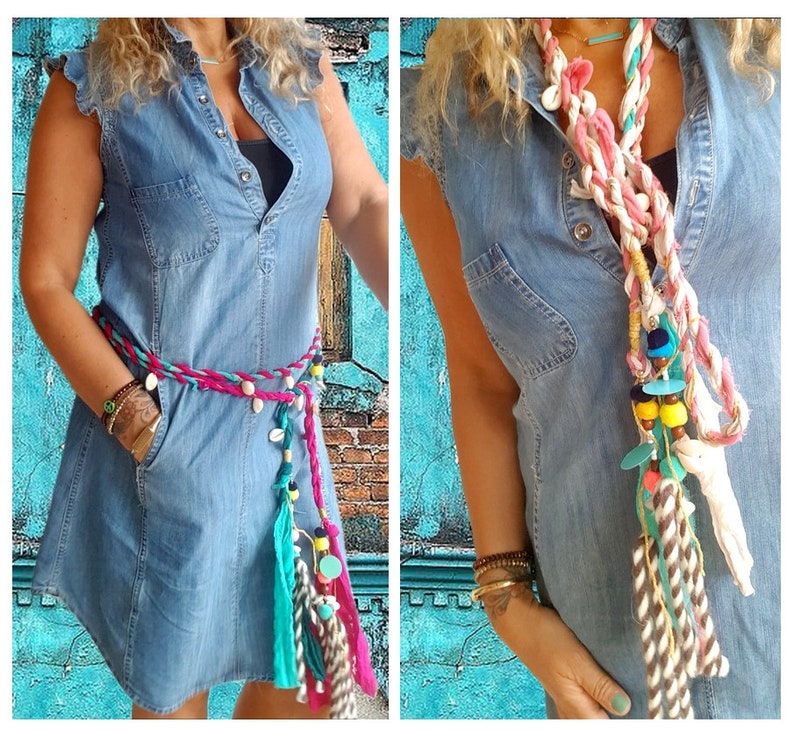 Wrap Belt  fabric belt  Tassel Belt  Boho belt image 0