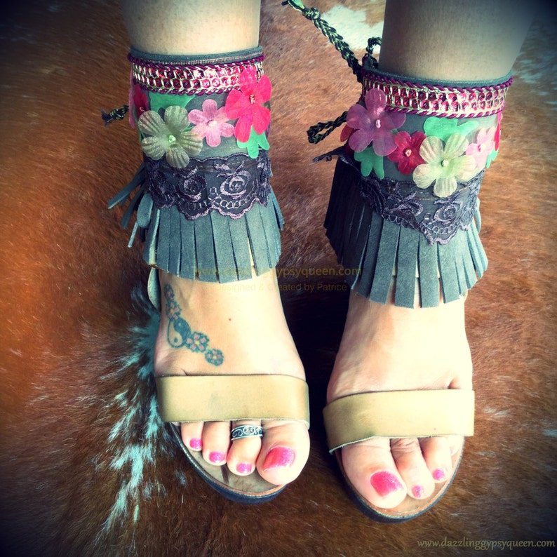 Gypsy Boho Leather Anklebelts Ankle wraps Ankle bling image 0