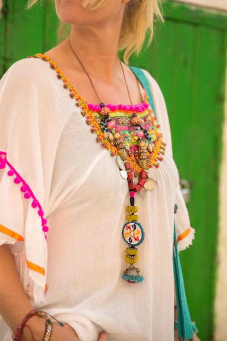 Long Leather Gypsy Kuchi Necklace With Beads And Cowrie Shells image 0