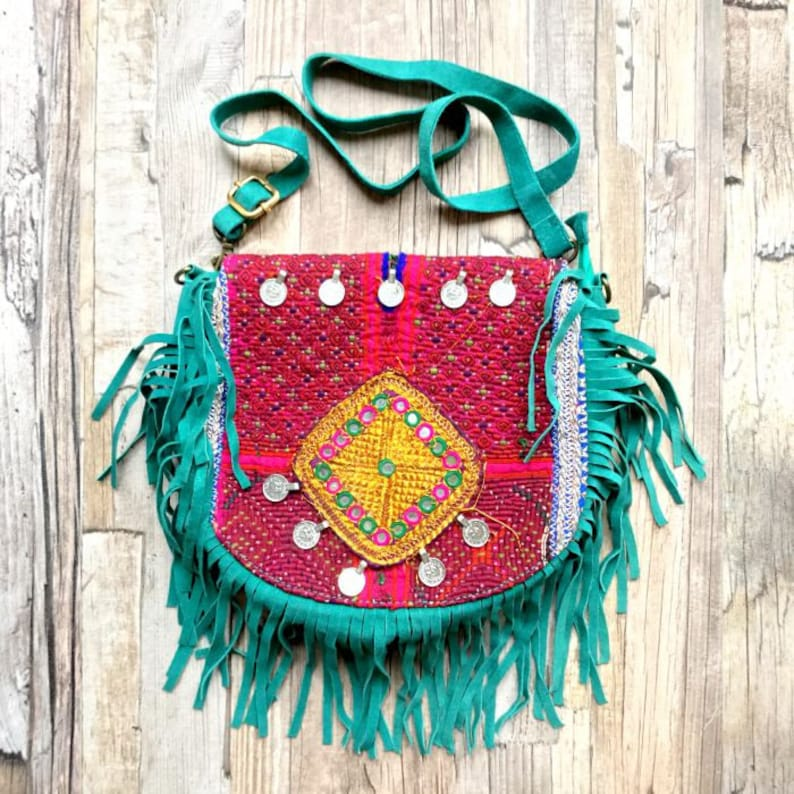 Turquoise Banjara bag red antique fabric tribal coins cross image 0