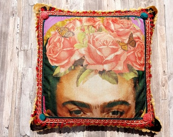 Beautiful Large Frida Kahlo Decorative Pillow cover - Colorful Fringe and Pompoms pillow - Bohemian Handmade cuchion -  Birthday Gift