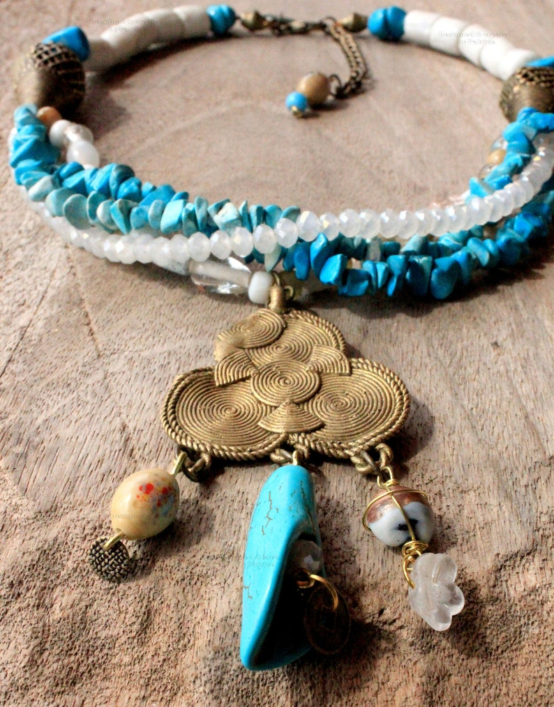 African Bohemian Necklace Beaded In Blue Turquoise White With image 0