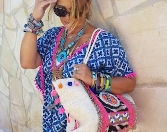 Boho Beach Dress Blue Pink PomPoms Bohemian Artistic Traditional Handmade Tribal Anniversary Birthday Gift for Her