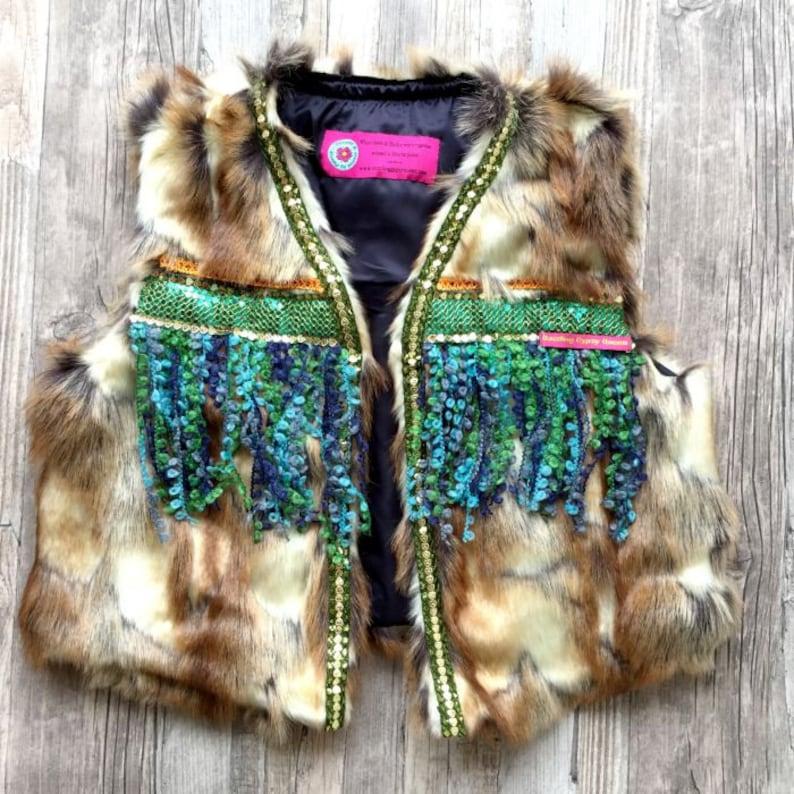 Boho faux fur Gilet Body warmer with Turquoise fringe image 0