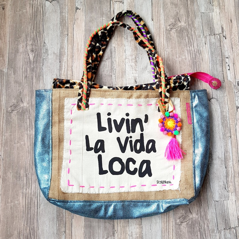 Quote Beach bag Ibiza beach bag with Leopard print and Quote image 0