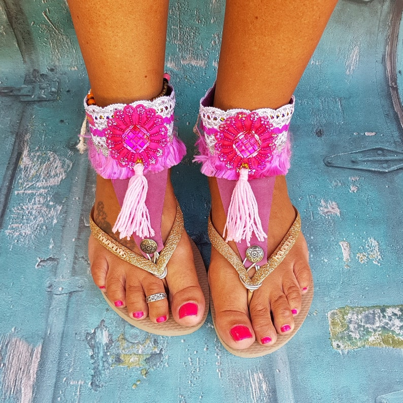 Gypsy Boho Leather Anklebelts Ankle wraps Ankle bling Ankle image 0