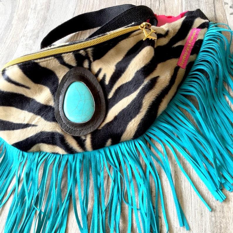 Boho Festival Fanny Pack In Zebra Print Bum Bag Money Belt image 0