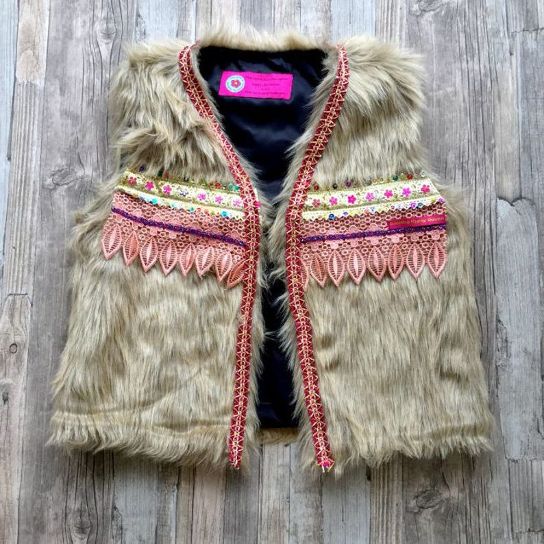 Boho faux fur Gilet Bodywarmer with fringe Embellished faux image 0