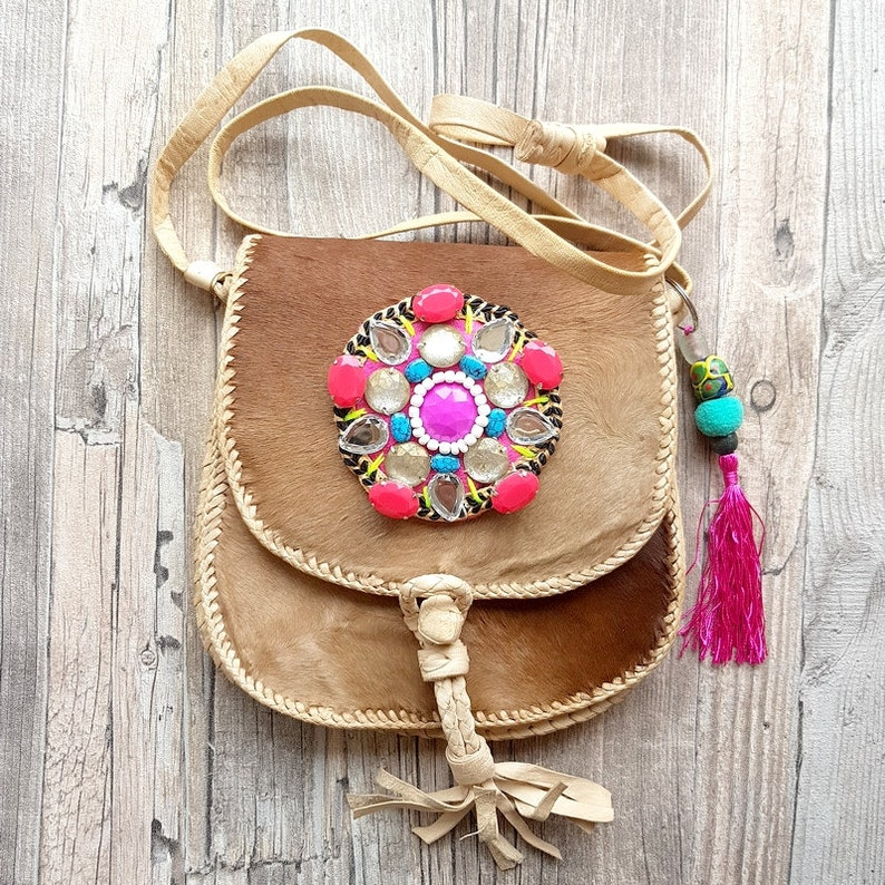 Gypsy handmade leather festval hide bag with beaded Kuchi image 0