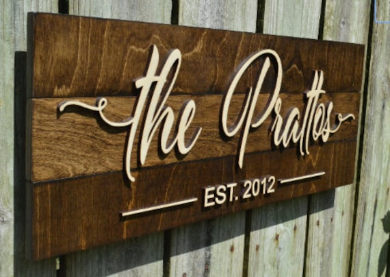 Personalized sign Last name sign Family name plaque Custom wood sign 3D sign Family name sign Rustic wooden sign Established sign