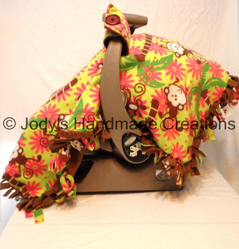 Infant  Baby Car Seat Canopy  Tent  Cover Green Jungle Monkey Fleece  Brown Back  Soft  Privacy  Warm  FREE SHIPPING