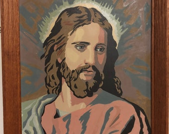 VINTAGE JESUS Paint by Number Completed Framed large size