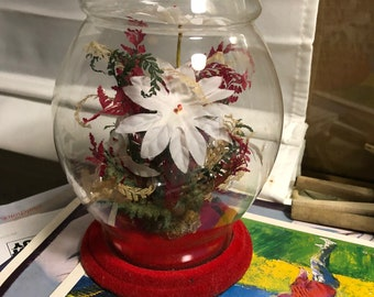 Vintage Christmas flocked floral terrarium glass enclosed Poinsettia Woolworth