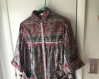 Models Coat Womens Housecoat Duster Robe Smock Pearl Snap size 10 b02018e5e