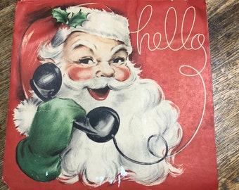 Vtg Santa Claus Head Face Paper Mache Curly Beard Wall Hanger Etsy