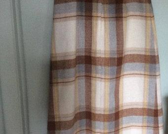 VTG Skirt Plaid Wool Knit Maxi Skirt long front slit Hippie Boho